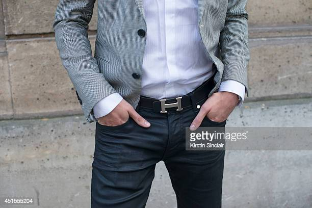 Fashion blogger for Infashionity Henry Obalit wearing The Kooples jacket Zara jeans and shirt Hermes belt on day 1 of Paris Collections Men on June...