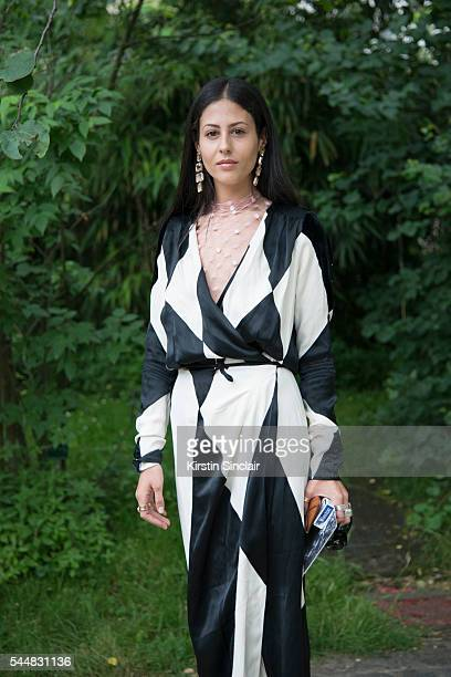 Fashion Blogger Gilda Ambrosio wears an Attico dress on day 1 of Paris Haute Couture Fashion Week Autumn/Winter 2016 on July 3 2016 in Paris France