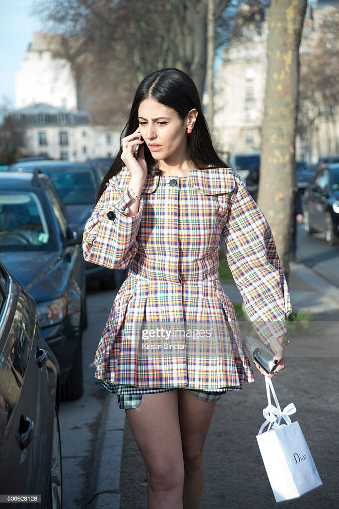 Fashion blogger Gilda Ambrosio wears Dior on day 2 of Paris Haute Couture Fashion Week Spring/Summer 2016, on January 25, 2015 in Paris, France.