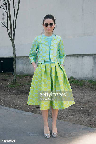 Fashion blogger Gloria Bombarda wears Sfizio top ZeroUV sunglasses and Le Stelle shoes on day 6 of Paris Collections Women on March 08 2015 in Paris...