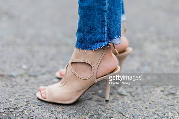 Fashion blogger Golestaneh MayerUellner wearing beige Aquazzura heels on April 13 2016 in Cologne Germany