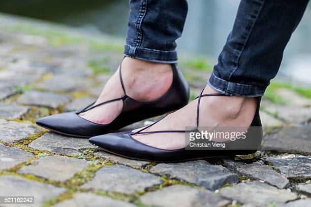 Fashion blogger Golestaneh MayerUellner wearing black Aquazzura flats shoes on April 13 2016 in Cologne Germany