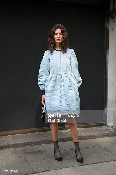 Fashion blogger Hedvig Opshaug wears a Roksanda Illincic dress Chanel shoes day 4 of London Womens Fashion Week Spring/Summer 2016 on September 19...