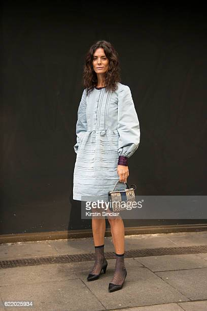 Fashion blogger Hedvig Opshaug wears a Roksanda Illincic dress Chanel shoes and Jimmy Choo bag day 4 of London Womens Fashion Week Spring/Summer 2016...