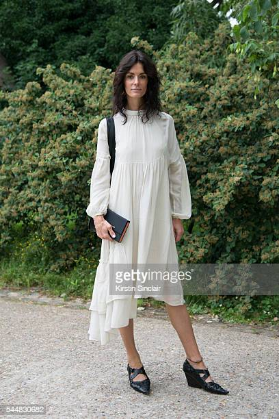 Fashion Blogger Hedvig Opshaug wears a Tibi dress and Céline shoes on day 1 of Paris Haute Couture Fashion Week Autumn/Winter 2016 on July 3 2016 in...
