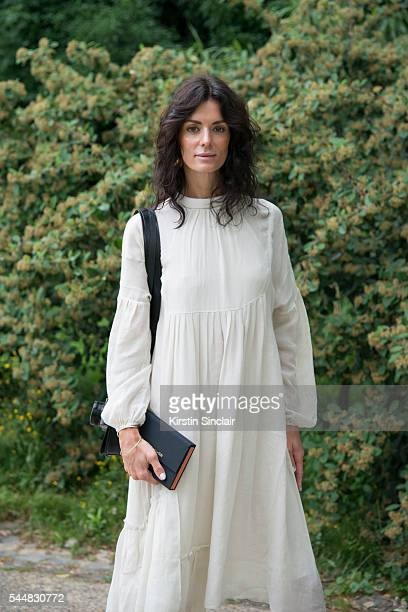 Fashion Blogger Hedvig Opshaug wears a Tibi dress on day 1 of Paris Haute Couture Fashion Week Autumn/Winter 2016 on July 3 2016 in Paris France