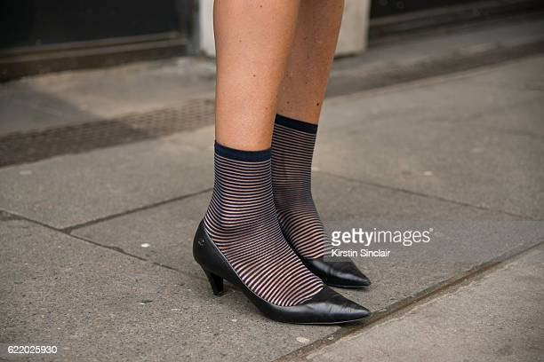 Fashion blogger Hedvig Opshaug wears Chanel shoes day 4 of London Womens Fashion Week Spring/Summer 2016 on September 19 2016 in London England