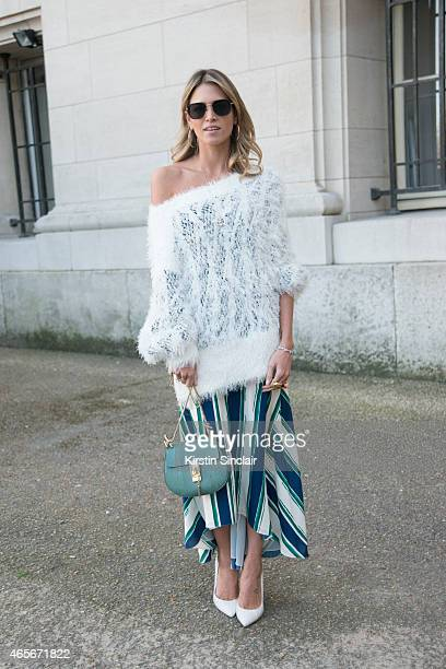 Fashion blogger Helena Bordon wears a Chloe top skirt and bag at the Chloe show on day 6 of Paris Collections Women on March 08 2015 in Paris France