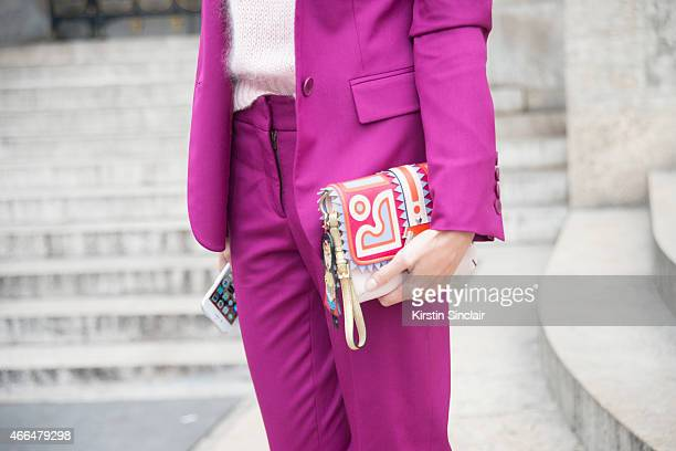 Fashion blogger Helena Bordon wears a Stella McCartney suit and Paola Cademartori bag on day 7 of Paris Collections Women on March 09 2015 in Paris...