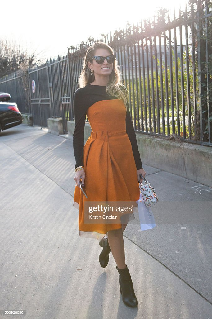 Fashion blogger Helena Bordon wears all Dior on day 2 of Paris Haute Couture Fashion Week Spring/Summer 2016, on January 25, 2015 in Paris, France.
