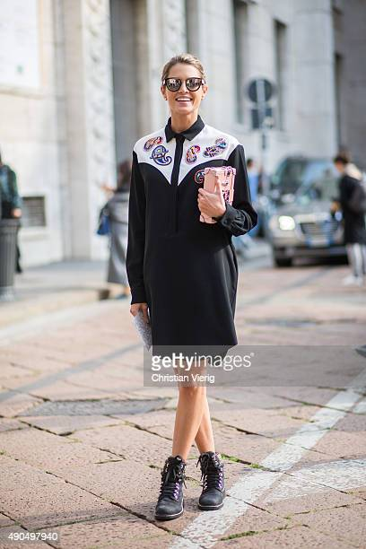 Fashion blogger Helena Bordon wears MSGM dress Elena Ghisellini bag Chanel shoes during Milan Fashion Week Spring/Summer 16 on September 27 2015 in...