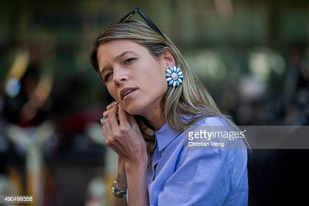 Fashion Blogger Helena Bordon wears Zara shirt and Miu Miu earrings during Milan Fashion Week Spring/Summer 16 on September 25 2015 in Milan Italy