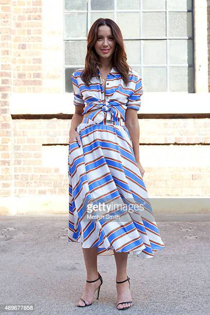 Fashion Blogger Jasmin Howell wears a Furla bag MacGraw top and skirt and Prada shoes at MercedesBenz Fashion Week Australia 2015 at Carriageworks on...