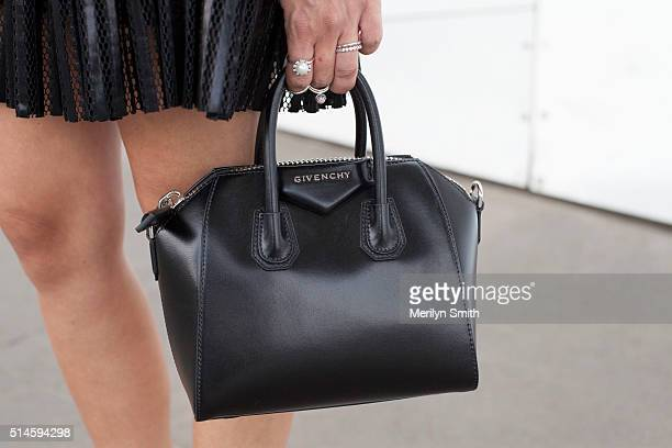 Fashion Blogger Klara Lazar wearing a Maje dress and Givenchy bag during the 2016 Melbourne Fashion Festival on March 9 2016 in Melbourne Australia