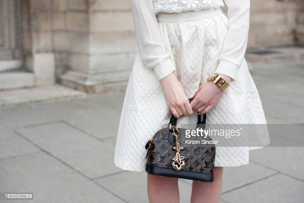 Fashion blogger Kristina Bazan wears all Louis Vuitton on day 7 of Paris Womens Fashion Week Autumn/Winter 2013 on March 06 2013 in Paris France