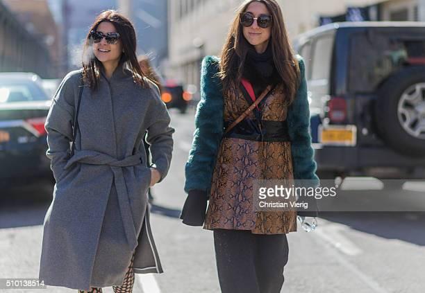 Fashion blogger Lainy Hedaya of Haute Inhabit wearing Prada sunglasses a grey Toteme wool coat and Proenza Schouler stockings seen outside Yigal...