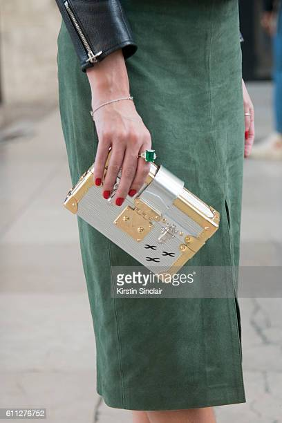 Fashion blogger Lala Rudge wears Cruise skirt on day 2 of Paris Womens Fashion Week Spring/Summer 2017 on September 28 2016 in Paris France