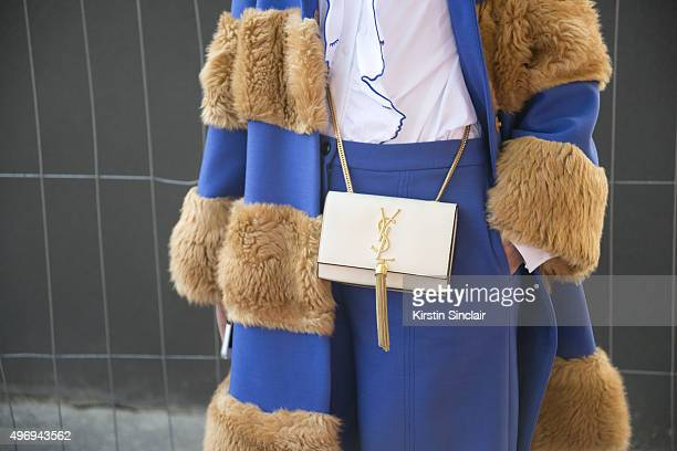 Fashion Blogger Laura Comolli wears all Jivetti and a Yves Saint Laurent bag on day 6 during Paris Fashion Week Spring/Summer 2016/17 on October 4...