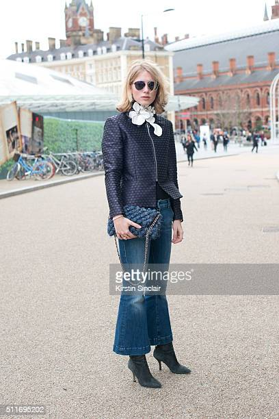 Fashion blogger Laura Tonda wears a 2ND Day jacket Seafarer jeans Anne Sofie Madsen necklace M Missoni bag Gardenia shoes and Dior sunglasses on day...