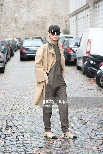 Fashion Blogger Leaf Greener wears Chanel shoes Vanessa Ward jumpsuit Ms Min trench coat on day 8 during Paris Fashion Week Spring/Summer 2016/17 on...