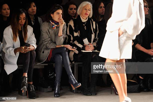 Fashion blogger Leandra Medine and Bergdorf Goodman fashion director Linda Fargo attend the Sally LaPointe fashion show during MercedesBenz Fashion...