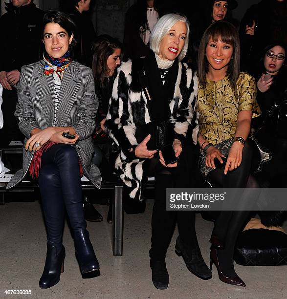 Fashion blogger Leandra Medine Bergdorf Goodman fashion director Linda Fargo and journalist Alina Cho attend the Sally LaPointe fashion show during...