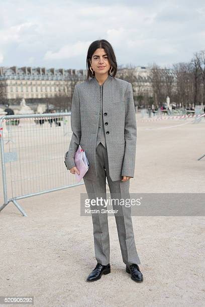 Fashion Blogger Leandra Medine wears a Rosie Assoulin suit 'n on day 8 during Paris Fashion Week Autumn/Winter 2016/17 on March 8 2016 in Paris...