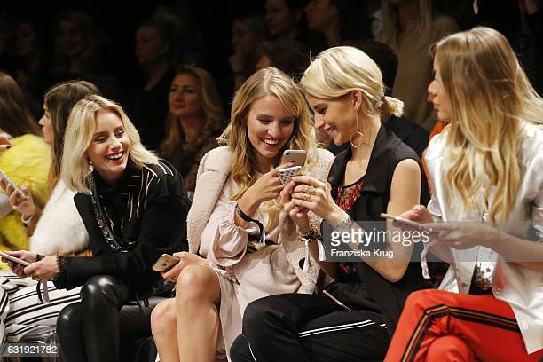 Fashion Blogger Leonie Hanne and Fashion Blogger Caro Daur attend the Marc Cain fashion show A/W 2017 at Deutsche Telekom representation on January...