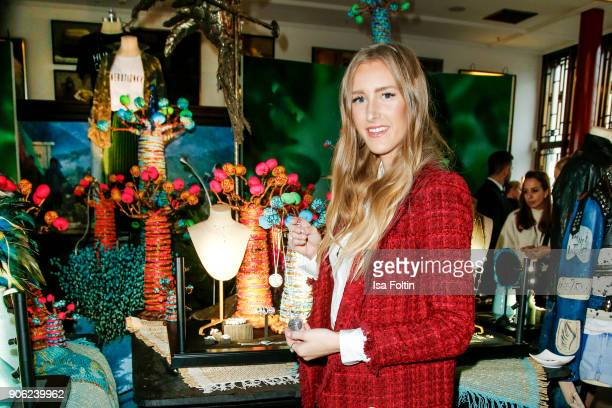 Fashion blogger Leslie Huhn attends the Thomas Sabo Press Cocktail during the MercedesBenz Fashion Week Berlin A/W 2018 at China Club on January 17...