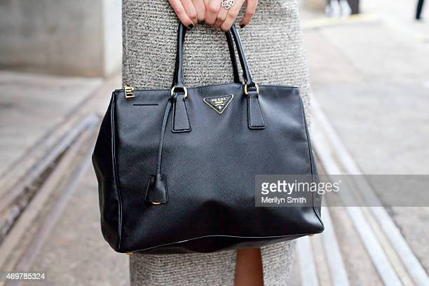 Fashion Blogger Lidia Misev wears a Prada bag and Ellery skirt at MercedesBenz Fashion Week Australia 2015 at Carriageworks on April 12 2015 in...
