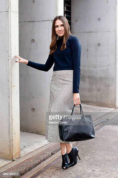 Fashion Blogger Lidia Misev wears a Prada bag, Witchery top, Ellery skirt and Gianvito Rossi boots at Mercedes-Benz Fashion Week Australia 2015 at...