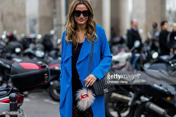 Fashion blogger Lima Che of Limas Wardrobe wearing Pinko jacket Chanel bag and Fendi outside Viktor and Rolf during the Paris Fashion Week Haute...