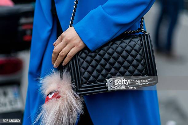 Fashion blogger Lima Che of Limas Wardrobe wearing Pinko jacket Chanel bag and Fendi outside Viktor and Rolf during the Paris Fashion Week Haute...