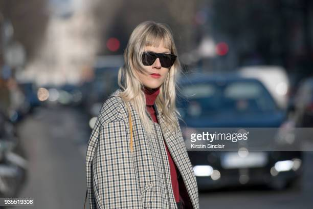 Fashion blogger Linda Tol wears a Lacoste jacket Salle Privee sunglasses day 3 of Paris Womens Fashion Week Spring/Summer 2018 on February 28 2018 in...
