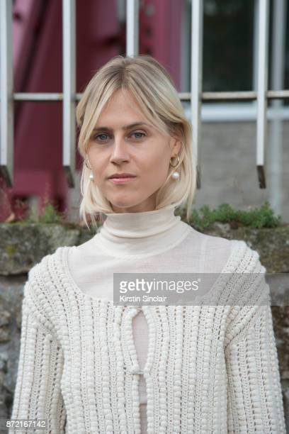 Fashion blogger Linda Tol wears a Loewe sweater day 4 of Paris Womens Fashion Week Spring/Summer 2018 on September 29 2017 in London England