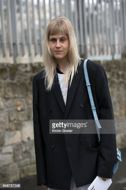 Fashion blogger Linda Tol wears an Acne jacket day 5 of Paris Womens Fashion Week Spring/Summer 2018 on March 2 2018 in London England
