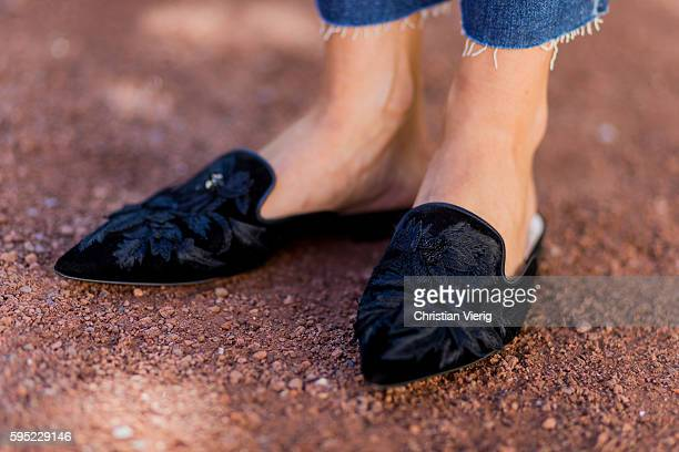 Fashion blogger Lisa Hahnbueck wearing black Alberta Ferretti Velvet Loafer Flats on August 25 2016 in Duesseldorf Germany