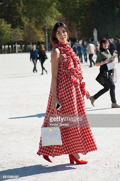 Fashion Blogger Lise Grendene wears an Awake London dress on day 4 during Paris Fashion Week Spring/Summer 2016 on October 2 2015 in London England