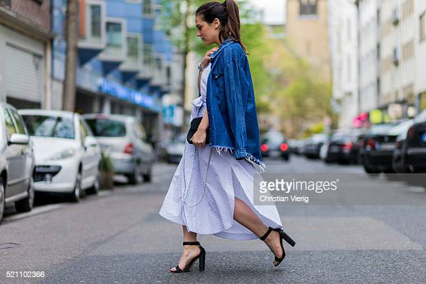 Fashion blogger Lou Beyer wearing a blue denim button shirt from One Teaspoon a white c meo collective skirt black Chloe bag white Zara tshirt and...