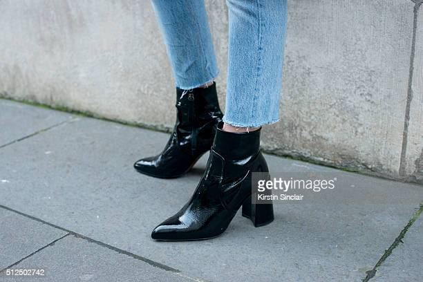 Fashion blogger Lucy Williams wears all Topshop on day 3 during London Fashion Week Autumn/Winter 2016/17 on February 21 2016 in London England Lucy...