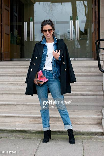 Fashion blogger Luiza Sobral wears 7 For All Mankind jeans Citizens Of Humanity denim jacket Mixed tshirt Prada boots Maje coat and Elena Ghisellini...