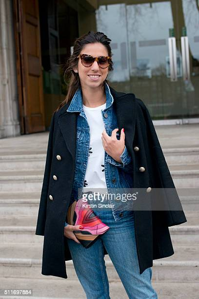 Fashion blogger Luiza Sobral wears 7 For All Mankind jeans Citizens Of Humanity denim jacket Mixed tshirt Maje coat and Elena Ghisellini bag on day 3...
