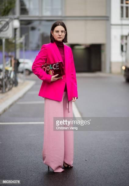 Fashion blogger Maria Barteczko wearing classic pink blazer Stella McCartney, bordeaux turtle neck jumper Asos, pink waist wide leg trousers...