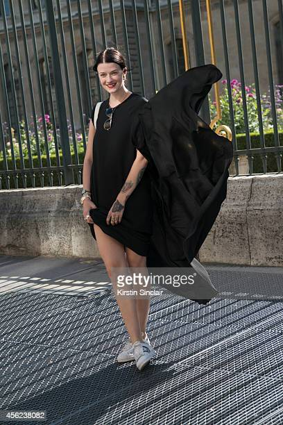 Fashion Blogger Marianne Theodorson is wearing Haaning and Htoon dress and Adidas trainers on day 4 of Paris Collections Women on September 26 2014...