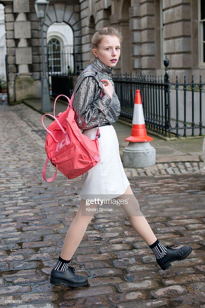 Street Style: Day 5 - London Fashion Week AW14 : News Photo