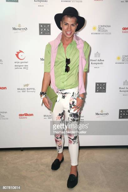 Fashion blogger Maximilian Seitz attends the Anja Gockel show during the MercedesBenz Fashion Week Berlin Spring/Summer 2018 at Hotel Adlon on July 4...