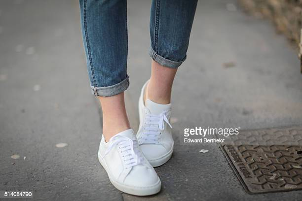 Fashion blogger Meryl Denis is wearing Agnes B shoes before the John Galliano show during Paris Fashion Week Womenswear Fall Winter 2016/2017 on...