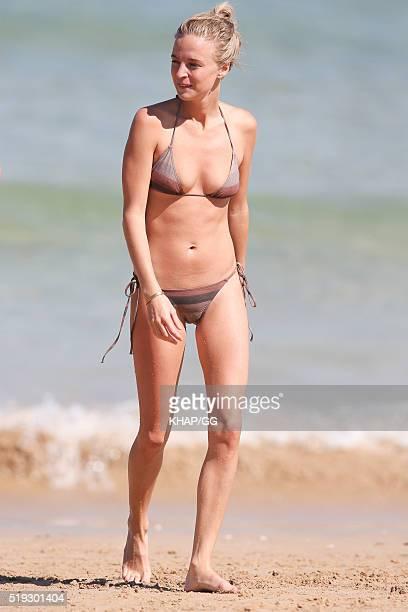 Fashion blogger Nadia Fairfax enjoys a swim at Bondi Beach on April 6 2016 in Sydney Australia