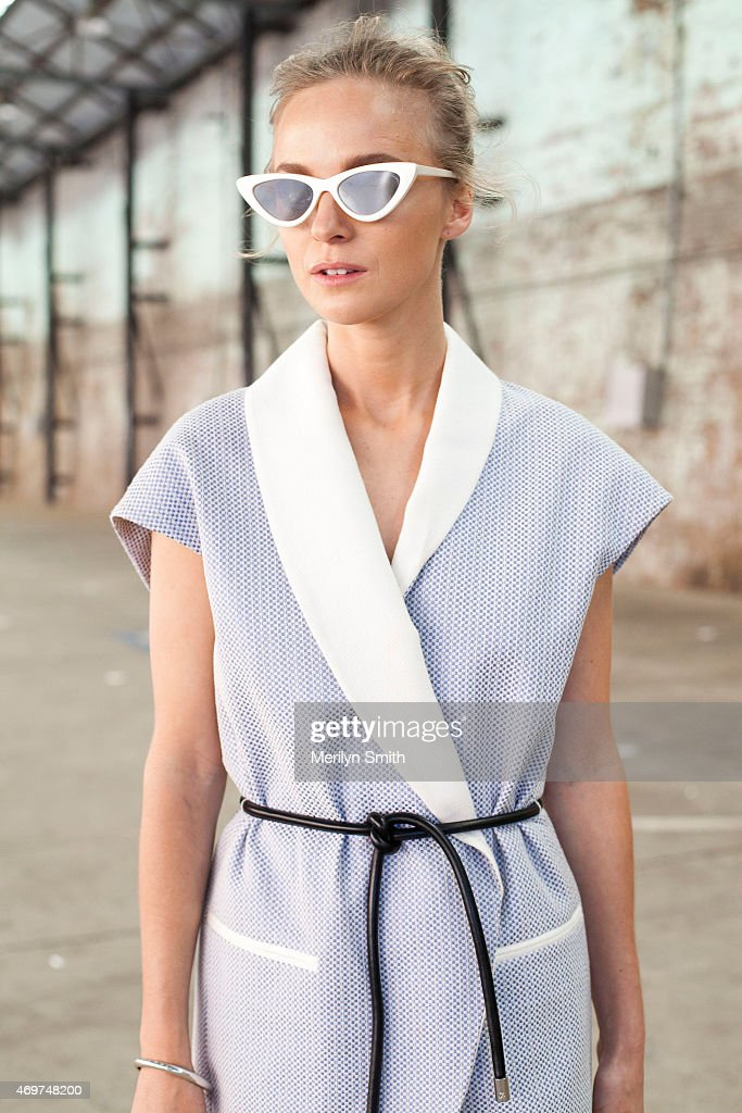 Fashion Blogger Nadia Fairfax wears a Phillip Lim dress, Givenchy shoes and Le Spec sunglasses at Mercedes-Benz Fashion Week Australia 2015 at Carriageworks on April 14, 2015 in Sydney, Australia.