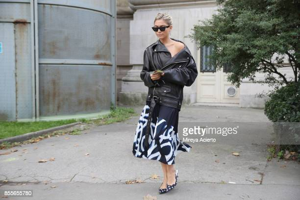 Fashion blogger Natalia Georgala seen during Paris Fashion Week Womenswear Spring/Summer 2018 on September 29 2017 in Paris France